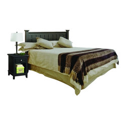 Home Styles - Home Styles Arts and Crafts Black Queen Headboard and Night Stand Set - Home Styles - Bedroom Sets - 51815015 - Mission Styling at its best! The Arts and Crafts Queen Poster Headboard and Night Stand embellish typical mission styling with raised wood, lattice moldings and slightly flared legs. Finished in a Black finish over hardwood solids and engineered wood, this collection's simplistic yet detailed design make it ideal for any bedroom setting. The Night Stand features Brushed Nickel hardware, a storage drawer, and a hidden pull-out tray with a top surface protected by a scratch and stain resistant finish. Two piece set includes the headboard and night stand.