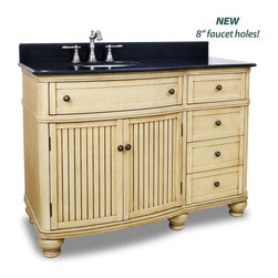 """Hardware Resources - Elements Compton Vanity with Preassembled Top and Bowl in Painted Buttercream - This 48"""" wide MDF vanity has simple beadboard doors and curved shape to accent the traditional cottage feel. The Walnut is created by hand making each vanity unique. A large cabinet fully functional top drawer fitted around plumbing and offset bank of drawers equipped with ball bearing slides provide ample storage. This vanity has a 2CM black granite top preassembled with an H8809WH (15"""" x 12"""") bowl cut for 8"""" faucet spread and corresponding 2CM x 4"""" tall backsplash."""