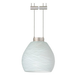 Besa Lighting - Besa Lighting 1XA-560560 Tay Tay 1 Light Halogen Cable-Hung Pendant - The Tay Tay is a compact handcrafted glass, softly radiused to fit gracefully into contemporary spaces. Our Cocoon glass is a frosted glass with interesting threads of opaque white swirling throughout. This decor is full of textured and creates a point of interest to any room. When lit this glass features a dimensional effect from the whites lines that are interlaced at various levels. The smooth satin finish on the clear outer layer is a result of an extensive etching process, with the texture of the subtle brushing. This blown glass is handcrafted by a skilled artisan, utilizing century-old techniques passed down from generation to generation. Each piece of this decor has its own artistic nature that can be individually appreciated The 12V adjustable pendant fixture is equipped with 8' of bare silver-color braided cable, spring-loaded cable adjuster, quick connect jack and low profile flat monopoint canopy.Features: