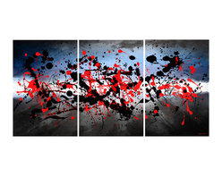"""Maxwell Dickson - Maxwell Dickson """"Beautiful Mind"""" 3 Piece Canvas Art Set Abstract Modern - We use museum grade archival canvas and ink that is resistant to fading and scratches. All artwork is designed and manufactured at our studio in Downtown, Los Angeles and comes stretched on 1.5 inch stretcher bars. Archival quality canvas print will last over 150 years without fading. Canvas reproduction comes in different sizes. Gallery-wrapped style: the entire print is wrapped around 1.5 inch thick wooden frame. We use the highest quality pine wood available."""