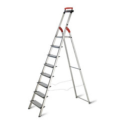 "Frontgate - 8-step Aluminum Ladder - 22""W x 5-1/2""D x 94""H, 17-1/2 lbs. From floor to eighth step: 70"". Overall height: 92"". 200-lb. weight capacity."