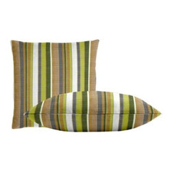 """Cushion Source - Sunbrella Carousel Limelite Throw Pillow Set - The Sunbrella Carousel Limelite Outdoor Throw Pillow Set consists of two 18"""" x 18"""" throw pillows featuring stripes of palm, chartreuse, white, gray, and beige."""