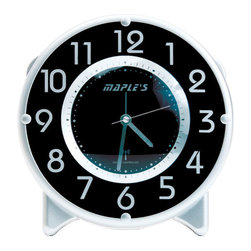 Maple's Clock - Black and White Radio-Controlled Table Alarm Clock - - Radio-controlled (Atomic)  - Automatic day time adjustment  - Loud beep alarm  - Light at night time  - Snooze  - Battery - 1C (Not Included) Maple's Clock - TRC017