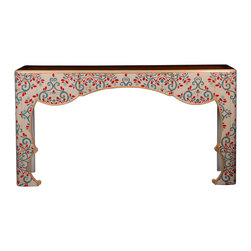 French Heritage - Tarascon Flower Console - Give your foyer or living room an elegant, exotic feel with this Ottoman Empire-inspired console table. The arabesque pattern will tastefully complement your traditional or eclectic style.