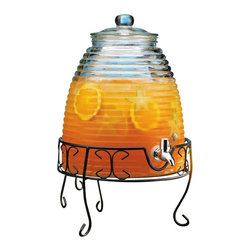 "Home Essentials - Old Fashioned Beehive Beverage Dispenser with Stand - Sweet as honey, this delightful drink dispenser is guaranteed to eliminate those sticky serving situations! With its sturdy construction, the hostess can relax like a queen bee and spend time mingling, instead of constantly worrying about refilling guests' glasses. Great for fresh lemonade, iced tea, mineral water, or party punch, this beverage dispenser will have your picnic or holiday party buzzing. Its wide opening makes refilling and cleaning easy. * Dimensions: Diameter 11.5"" 15.25"" Tall without stand, Stand: 7.25"" * Capacity: 2 Gallons* Stand Included"