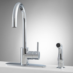 Henton Kitchen Faucet with Side Spray - Crisp lines make the Henton Faucet a refreshing kitchen update. Sporting a gooseneck spout and single-lever control, this faucet has an uncluttered, sleek design.