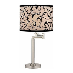 Design Classics Lighting - Pauz Swing Arm Table Lamp with Black Filigree Lamp Shade - 1902-09 SH9515 - Contemporary / modern satin nickel 1-light table lamp. Swing arm has a maximum 9-inch extension. Features a black and white filigree drum shade. Takes (1) 100-watt incandescent A19 bulb(s). Bulb(s) sold separately. UL listed. Dry location rated.