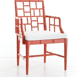 Chinese Chippendale Chair - Aching for a game of Chinese checkers, a cup of hot tea or a Sunday afternoon nap? This faux bamboo chair with comfy cushion harkens back to Chinese Chippendale Style. Wisteria