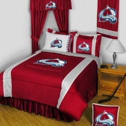 Sports Coverage - Colorado Avalanche NHL Sidelines Complete Bedroom Package - Twin - Save big and show your NHL team spirit with Colorado Avalanche Sidelines Complete Bedroom Package which includes a Comforter, Micro Fiber Sheet set, Shams, Pillows, Bedskirt, Drapes and Valance! Buy the complete Bedroom Package and save off our already discounted prices - the best we could find; when you buy the complete bedroom package instead of each piece separately, you save and save big. Sheet Sets are plain white in color with no team logo. Bedskirt and Drapes are available in team color with no team logo printed on them.   Includes:  -  Comforter - Twin 66 x 86, Full/Queen 86 x 86,    -  Flat Sheet - Twin 66 x 96, Full 81 x 96, Queen 90 x 102.,    - Fitted Sheet - Twin 39 x 75, Full 54 x 75, Queen 60 X 80,    -  Pillow case Standard - 21 x 30,    - Pillow Sham - 25 x 31,    -  Bedskirt - Twin 76 x 39, Full 76 x 54, Queen 80 x 60 ,    - Window Drapes: 82x 63 ,    - 18 Toss Pillow ,    -  Window Valance : 88 x 14 ,