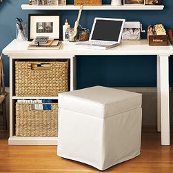 "Bedford Small Desk Set, 1 Desktop & 1 Open File Cabinet, Antique White - Our iconic Bedford Collection is designed for ultimate versatility, so you can arrange and rearrange components to best meet your needs for years to come. The Small Desk Set can be used singly or combined with other modular components to give you the ultimate flexibility in creating a workspace that's ideal for you. To create a desk set that's ideal for your space, {{link path='/shop/furniture-upholstery/tools-furn/bedford-desk-furniture/'}}click here{{/link}} to view our Bedford Desk Set Tool. 52"" wide x 23"" deep x 30"" high Set includes a small desktop and a 3-drawer cabinet or an open cabinet. Pair it with your choice of Bedford File Cabinet Bases (sold separately) to create a work surface with room to store all the essentials. Top the desk with our protective sheet made of thick clear acrylic (sold separately). To create your own Small Desk Set, please view our Modular Components. Wood swatches, below, are available for $25 each. We will provide a merchandise refund for wood swatches if they're returned within 30 days. Select items are Catalog / Internet Only. View our {{link path='pages/popups/fb-home-office.html' class='popup' width='480' height='300'}}Furniture Brochure{{/link}}."