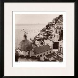 Artcom - Positano Vista by Alan Blaustein - Positano Vista by Alan Blaustein is a Framed Art Print set with a SOHO Black wood frame and a Polar White mat.