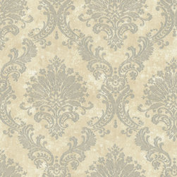 Vintage-Style Damask Wallpaper, Duchess Grey, Bolt - • Vinyl Covered Paper