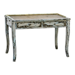 Uttermost - Uttermost Honovi Distressed Writing Desk X-89552 - Artisan crafted from plantation-grown mango wood with mahogany-stained mindi veneer, hand painted and distressed in Holland gray finish, layered with hints of ivory and blue.