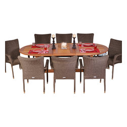 International Home Miami - Amazonia BT Rennaisance Extendable 9-Piece Patio Dining Set - Great Quality, elegant design patio set, made of solid eucalyptus wood, aluminum and synthetic wicker. FSC (Forest Stewardship Council) certified. Enjoy your patio with style with these great sets from our Amazonia outdoor collection