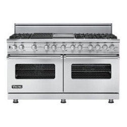 "Viking Professional 60"" Dual Fuel Range - Dual-Fuel Range with 6 VSH Pro Sealed Burners, 4.7 cu. ft. Vari-Speed Dual Flow Convection Ovens, Self-Clean, Griddle/Simmer Plate and Char-Grill: Stainless Steel."