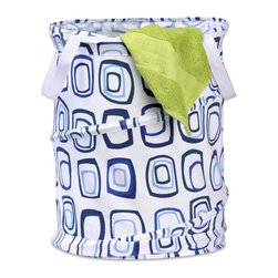 Honey Can Do - Honey Can Do Medium Pop Open Spiral Hamper Multicolor - HMP-01565 - Shop for Hampers from Hayneedle.com! The Honey Can Do Medium Pop Open Spiral Hamper will add just the right amount of whimsy to your washing. Fun and functional this contemporary laundry hamper features a playful geometric design in refreshing shades of light and navy blue. It's crafted of durable nylon with convenient travel and tote straps so you can schlep it to the washing machine in no time. Fold this handy hamper up when you're not using it by simply pushing down on the springs. This clever closet organizer has a look that's sure to cheer up all your clothing-related chores. About Honey-Can-DoHeadquartered in Chicago Honey-Can-Do is dedicated to helping you organize your life. They understand that you need storage solutions that are stylish and affordable at the same time. Honey-Can-Do focuses on current design trends and colors to create products that fit your decor tastes while simultaneously concentrating on exceptional quality. When buying a Honey-Can-Do product you can be sure you are purchasing a piece that has met safety control standards and social compliance methods.