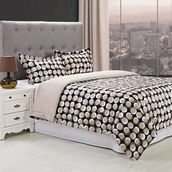 None - Cotton 300 Thread Count Monroe 3-piece Duvet Cover Set - Bring modern style to your bedroom with the geometrically abstract design of the Monroe duvet cover set. Made of 100-percent 300 thread count cotton,this duvet cover features circular patterns layered atop a black background for a fun,mature look.