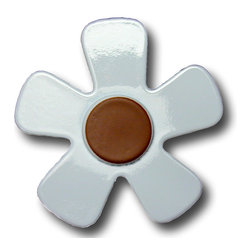 RR - Pastel Daisy Blue with Chocolate Center Drawer Pull - Pastel Daisy Blue with Chocolate Center Drawer Pull