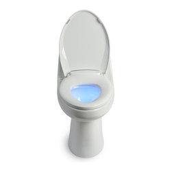 Brondell - LumaWarm Heated Nightlight Toilet Seat - The LumaWarm heated nightlight toilet seat offers the luxury and comfort of a heated seat with the added convenience of an illuminating LED nightlight. There is nothing more jarring than turning on the bathroom light in the middle of the night and sitting down on a freezing cold toilet seat. With the LumaWarm, you will be guided by the soft illuminating glow of the blue nightlight and comforted by the soothing heated seat, set to your personal temperature preference. With 4 temperature setting options (off-low-med-high), the LumaWarm is comfortable all year round. The elegant built in nightlight has a simple on/off button and LED light bulb that is energy efficient and long lasting. The LumaWarm heated nightlight toilet seat quickly and easily replaces any existing toilet seat and is adjustable for a perfect fit on any standard fixture. As with all Brondell toilet seats, the LumaWarm has a gentle closing seat and lid with superior style and quality you won't find anywhere else. The LumaWarm heated nightlight toilet seat is a must-have for every bathroom. Don't lose anymore sleep, get the LumaWarm today and start living in luxury. Features: -Adjustable heated seat (3 temperature settings). -Illuminating LED nightlight (blue color). -Gentle closing seat and lid. -Simple intuitive controls. -Fits all standard toilet fixtures. -Powered by standard GFI outlet. Specifications: -Cord length: 4 ft.