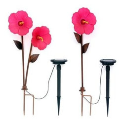 Trendscape - Outdoor Lighting. Hibiscus 3 Head Bronze Solar LED Path Light - Shop for Lighting & Fans at The Home Depot. Solar powered Twin Tropical Hibiscus and a single Tropical Hibiscus with real glass flowers which are hand crafted and light up with elegance at night. Position in your garden to add charm and lighting effects. Beautiful by day and night red floral.