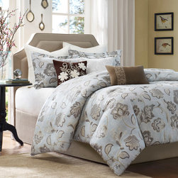 "Harbor House - Harbor House Lynnwood Duvet Cover - Harbor House brings this beautiful Lynnwood nature-inspired bed set, perfect for a neutral space. The floral pattern in tan, taupe, and cream is easy to accessorize and brings a crisp, clean feeling to the room. The oversized comforter is made from 100% cotton faux linen to give the fabric a nice clean look. The shams are the same floral pattern as the comforter and are finished with a 1"" flange around the edges. This beautiful comforter set is sure to make your room look calm and peaceful. Duvet face: 100% cotton faux linen fabric printing; back: T180 100% cotton fabric."