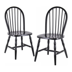 Winsome Wood - Winsome Wood Set of 2 Windsor Chairs w/ Curved Legs - Quality built Windsor chair. Solid wood construction and all assembled. Carved Leg. Smooth Contour seat gives extra comfy. Dining Chair (2)