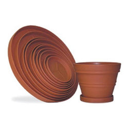 Riverside Plastics - Round Resin Planter Saucers - SA-12-1510 - Shop for Planters and Pottery from Hayneedle.com! Just right for supporting pots of all sizes. These plant saucers are supremely durable with a natural appearance that belies its poly resin plastic construction. Suitable for indoor or outdoor use in any climate these commercial-quality saucers are UV-protected for complete fade resistance. Designed for use in the harshest climates it will not crack or break during the freeze-and-thaw season. Choose from a wide range of sizes and colors. SIZE DIMENSIONS:Diameter (diam.): Measurement is the saucer's outside diameterThe saucer's inside diameter is 1.5 inches smallerNot every color is available in all sizes 12.75 diam. inches 14.75 diam. inches 18 diam. inches 20 diam. inches 22.25 diam. inches 24 diam. inches 27 diam. inches 29 diam. inches 33 diam. inches 37 diam. inches About Riverside PlasticsFor versatile containers that can take the heat look to Riverside Plastics. With planters that look and feel like clay pots but are actually made of strong polyethylene Riverside offers planters durable and attractive enough for use in golf courses hotels malls and theme parks. Riverside planters are appropriate for use indoors or out and come in a pleasing variety of sizes (from 8 - 60 inches) and colors that span the color wheel. Preferred by architects decorators landscape designers and plantscapers for projects around the world Riverside Plastics offers products that provide the means to fill your needs.