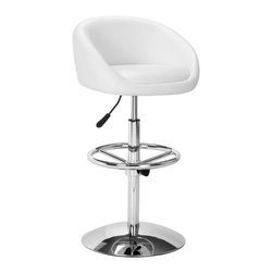 ZUO MODERN - Concerto Barstool White - Comfortable as it is glamorous, the Concerto has a leatherette seat, a hydraulic piston, adjustable footrest, and a chrome plated steel base.
