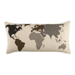 Faculty Mixer Map Throw Pillow - A lumbar pillow in soft neutrals looks lovely in a mix of various throw pillows on a sofa. This map-inspired version hints at a home owner's love to travel.