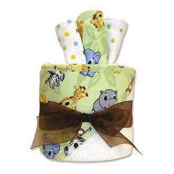 """Trend Lab - Gift Cake - Chibi Hooded Towel - Trend Lab's Gift Cake is the perfect shower centerpiece and a practical gift for any mom to be. Gift set contains one hooded towel and three wash cloths. Hooded towel is white terry with Chibi zoo animals on a sage leaf background on the hood and trim. Wash cloths each have fun, modern printed cotton on the front with terry on the back. Wash cloth patterns include: zoo animal print including a hippo, zebra, monkey, tiger, elephant and giraffe, brown, yellow, blue and sage mini square print and white with sage dots. Hooded towel measures 32"""" x 30"""" and wash cloths 8"""" x 8"""". Hooded towel is wrapped around all three wash cloths to resemble a cake with topper and packaged in clear cellophane with ribbon and gift tag."""