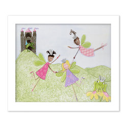 """Doodlefish - Princess Picnic - This artwork is a mounted Giclee of three flying fairy princesses. The wings of the fairies are finished with glitter and jewels are featured on the crowns and necklines of the fairies and frog. The piece is available in two sizes - 24"""" x 20"""" and 40"""" x 28"""".  Select from several frame colors to match your little princess's room."""
