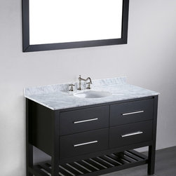 47'' Bosconi SB-250-4 Contemporary Single Vanity - A contemporary, simple but elegant design featuring a bottom towel rack preserving space for toiletries and other accessories in the upper two drawers. This is a practical Bosconi Contemporary Single Vanity that meets the needs of a sophisticated individual that appreciates style and form that follows function. The White Carrara Marble contrasts, but compliments black wood frame matching the bathroom environment with the ability to further customize its dimensions. Try Bosconi first.