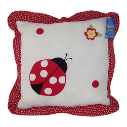 Pem America - Lady Bug Yard Pillow - Lady Bug Yard is a bright collection of red, white, and black lady bugs on a bed of white. The frame of the quilt has an applique leaf design in green with a scalloped outer frame in red.  The quilt and pillow shams face is pieced 100% cotton material and the pattern is fully accessorized.  This is the perfect bedding for that little girl that loves ladybugs! Each Pillow is 14 inches x 14 inches Filled with 100% Natural Cotton Machine washable.