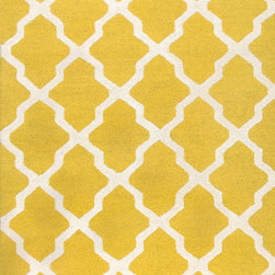 None - Handmade Moroccan Trellis Yellow Ivory Wool Rug (9' x 12') - Meticulously made using a petit point stitches construction,make your favorite space feel right at home with an elegant and amazingly beautiful trellis rug.