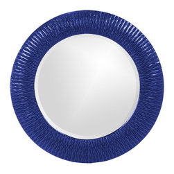 Howard Elliott - Howard Elliott 21143RB Bergman Royal Blue Small Round Mirror - This round, resin mirror is painted in a glossy royal blue giving the piece textured, starburst effect. Mirror (1)