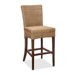 "Jacquelyne Rattan Wicker Barstool, Tall - Handwoven from rattan, our barstool is rich in natural texture and warmth. Its flared back is gently pitched for comfort, and braided detail outlines the seat and scooped apron. Medium: 19.5"" wide x 26"" deep x 40"" high Tall: 19.5"" wide x 26"" deep x 46.5"" high Wicker is expertly handwoven. Finished by hand. View our {{link path='pages/popups/fb-dining.html' class='popup' width='480' height='300'}}Furniture Brochure{{/link}}."