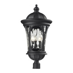 Five Light Black Water Glass Post Light - Traditional and timeless, this large outdoor post head fixture combines black cast aluminum hardware with clear water glass for a classic look.