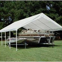 "King Canopy Hercules 18 x 27 ft. Canopy - A big gathering needs a big roof - count on the 18 x 27 Hercules Canopy to protect everything and everybody beneath it. This large covering is perfect for reunions or receptions or for temporary coverage of two cars or a boat. The 2-inch 20-gauge powder-coated steel frame has 10 legs for great stability and the durable white cover goes on and comes off easily via drawstring attachment. With an overall size of 27L x 17.75 feet side height of 6 feet 8 inches and a center height 11 feet 6 inches Hercules has what it takes to keep you and your event covered. Assembly required.About King CanopyIn 1940 King Canopy started as a small family business in North Carolina. Since then King Canopy has been providing customers with high quality outdoor covers including canopies and cabanas as well as other recreational covers and canopy products. These sturdily constructed products span a variety of uses including providing shade and shelter for areas such as patios and greenhouses to events such as parties and flea markets. Moreover King Canopy's covers aptly protect cars trucks recreational vehicles boats and jet skis; they may also serve as a free-standing temporary carport dock house gazebo or garage. With a mission ""to provide high quality innovative outdoor leisure and sports products that offer tremendous value to our customers "" King Canopy remains committed to their values of family and honesty and producing top-quality products."