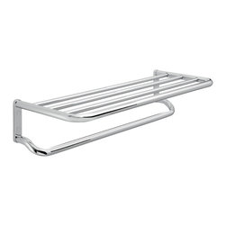 Gedy - Contemporary Chromed Brass and Aluminum Bathroom Shelf with Towel Bar - Contemporary style wall mounted bathroom train rack with towel bar.