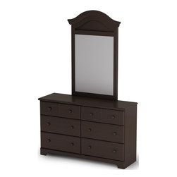 South Shore - 6-Drawer Dresser & Mirror Set in Brown Finish - Manufactured from eco-friendly, EPP-compliant laminated particle boardcarrying the Forest Stewardship Council (FSC) certification. Features 6 practical drawers. Mirror has decorative molding. Pre-drilled fixing posts for quick and easy mirror attachment to the dresser. Illusion of multiple drawers due to the grooves on the top drawer faces. Wooden knobs. Decorative kickplate. Smart Glide drawer slides feature stops and built-in dampers. Country style. Ready to assemble. Assembly required. 5-Year limited warranty. Dresser: 52 in. W x 16 in. D x 32 in. H. Mirror: 2 in. W x 47 in. HManufactured from laminated particle board. Our products are made of EPP certified panels (Environmentally Preferred Product). This item's packaging is ISTA 3A-certified to ensure its integrity and your total satisfaction. Shrink-wrapped packaging with reinforced corners to reduce the risk of shipping damage.