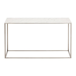 Blu Dot - Blu Dot Minimalista Console Table, Marble - Nothing but the bare essentials here. Sublime stainless steel gently supports your choice of top. Available in graphite-on-oak.