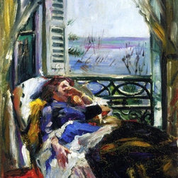 """Lovis Corinth Woman in a Deck Chair by the Window   Print - 16"""" x 24"""" Lovis Corinth Woman in a Deck Chair by the Window premium archival print reproduced to meet museum quality standards. Our museum quality archival prints are produced using high-precision print technology for a more accurate reproduction printed on high quality, heavyweight matte presentation paper with fade-resistant, archival inks. Our progressive business model allows us to offer works of art to you at the best wholesale pricing, significantly less than art gallery prices, affordable to all. This line of artwork is produced with extra white border space (if you choose to have it framed, for your framer to work with to frame properly or utilize a larger mat and/or frame).  We present a comprehensive collection of exceptional art reproductions byLovis Corinth."""