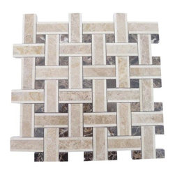 "Twine Woodland Blend Marble Tile - Twine Woodland Blend Marble Tile This marble mosaic will provide endless design possibilities from contemporary to classic. It creates a great focal point to suit a variety of settings. Chip Size: 2 7/8""x3/4"" Dot: 3/4""x3/4"" Color: Beige and Brown Material: Crema Marfil, Light and Dark Emperidor Finish: Polished Sold by the Sheet- each sheet measures 13""x13"" (1.17 sq.ft.) Thickness: 10 mm"