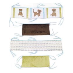 """Puppy Pal Boy - Crib Bumper - """"Puppy Pal"""" Bumper is the cutest all around!  4 pc bumper is a combination of """"One Grace Place"""" designer cotton print fabric and soft minky fabric.  Bumper is full life"""" with our """"Puppy Pal"""" showcased throughout using details in the collections blue and green hues!"""