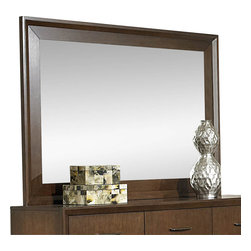 Homelegance - Homelegance Oliver Rectangular Mirror in Warm Brown Cherry - Simplicity will never mean boring with the Oliver collection. Designed with an eye for clean contemporary lines and pulling in warmth from warm brown cherry finish, this bedroom offering will be the perfect addition to your home. The raised panel, horizontal slat headboard serves as a focal point while the graphite finished hardware provides an elegant contrast to the collection.