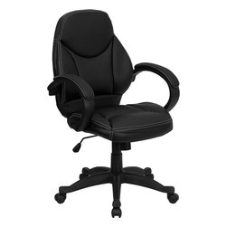 Flash Furniture - Flash Furniture Mid-Back Black Leather Contemporary Office Chair - Contemporary styling and sculpted lines form the basis of this executive office chair from Flash Furniture. The Passive lumbar support, waterfall seat, and ergonomic design create a comfortable sitting experience for most anyone. [H-HLC-0005-MID-1B-GG]