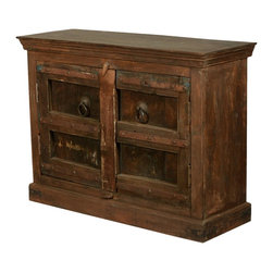 """Gothic Gates Rustic Reclaimed Wood 47"""" Buffet TV Stand Cabinet - Bring home the history and lore of medieval times with our Rustic Gothic Gates Mini Buffet. This handmade double door cabinet opens onto a large two shelf cupboard. The eco-smart 47"""" sideboard is built with reclaimed wood from Gujarat. The naturally aged and mellowed wood is authentically distressed and has the look and feel of antiquity."""