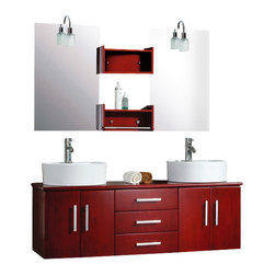 """Cambridge - Cambridge 59"""" Solid Wood Wall Mount Double Vanity Set / Chrome Faucet - If you're looking for something new and modern, look at this 59 inch vanity. This Solid oak vanity is wall mounted with a cherry finish. The vanity includes two cherry shelves for dispaying decorative items and for easy reach. The vanity cabinet has a water resistant coating and there are two round white vessel sinks. The three drawers and four doors are soft close for quiet storage. This complete set includes two single stem faucets, two sets of supply lines, two p traps and two drains. Add value and beautify your home with this vanity."""