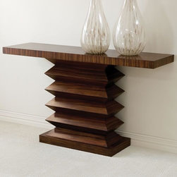 Global Views Zig Zag Console Table - This funky console table has an accordian-ish pedestal base and a simple slab top. It fits flush against a wall and is a great choice for an entryway or in a dining room as a buffet table.