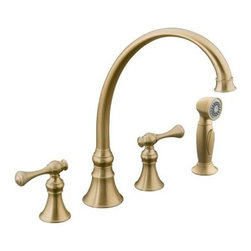 "KOHLER - KOHLER K-16109-4A-BV Revival Kitchen Sink Faucet with 9-3/16"" Spout, Sidespray a - KOHLER K-16109-4A-BV Revival Kitchen Sink Faucet with 9-3/16"" Spout, Sidespray and Traditional Lever Handles in Brushed Bronze"